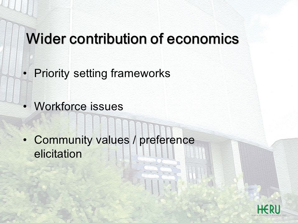 Wider contribution of economics Priority setting frameworks Workforce issues Community values / preference elicitation