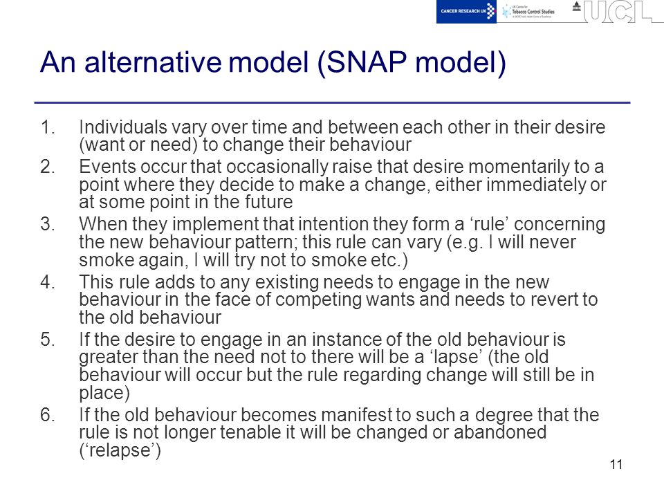 11 An alternative model (SNAP model) 1.Individuals vary over time and between each other in their desire (want or need) to change their behaviour 2.Events occur that occasionally raise that desire momentarily to a point where they decide to make a change, either immediately or at some point in the future 3.When they implement that intention they form a 'rule' concerning the new behaviour pattern; this rule can vary (e.g.