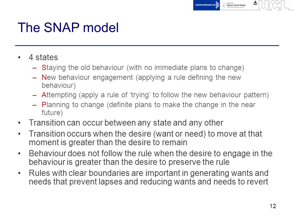 12 The SNAP model 4 states –Staying the old behaviour (with no immediate plans to change) –New behaviour engagement (applying a rule defining the new behaviour) –Attempting (apply a rule of 'trying' to follow the new behaviour pattern) –Planning to change (definite plans to make the change in the near future) Transition can occur between any state and any other Transition occurs when the desire (want or need) to move at that moment is greater than the desire to remain Behaviour does not follow the rule when the desire to engage in the behaviour is greater than the desire to preserve the rule Rules with clear boundaries are important in generating wants and needs that prevent lapses and reducing wants and needs to revert