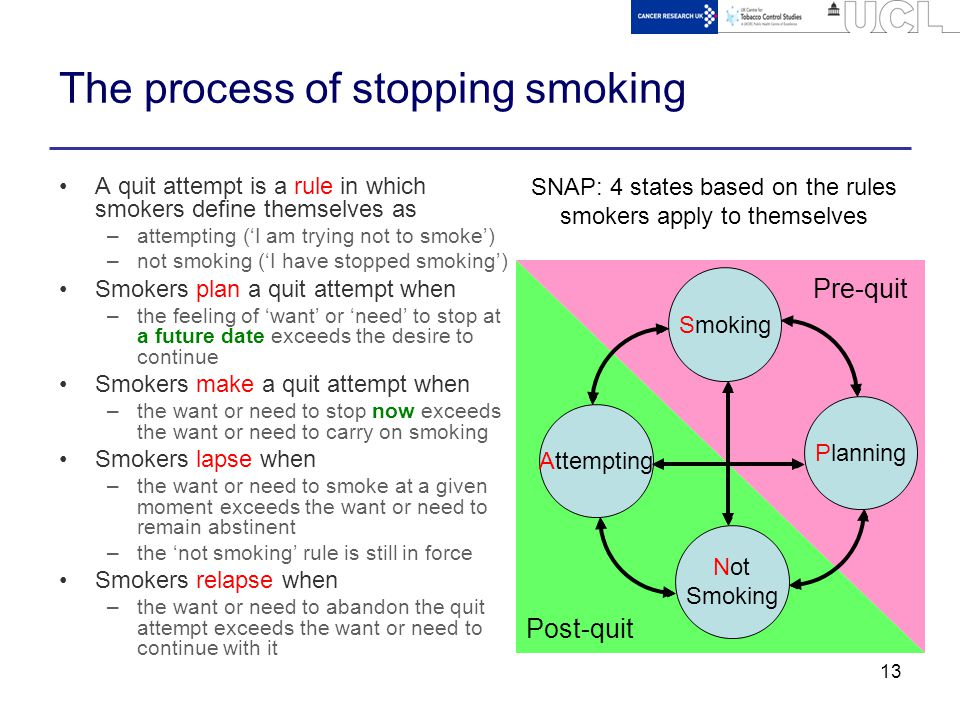 13 The process of stopping smoking A quit attempt is a rule in which smokers define themselves as –attempting ('I am trying not to smoke') –not smokin