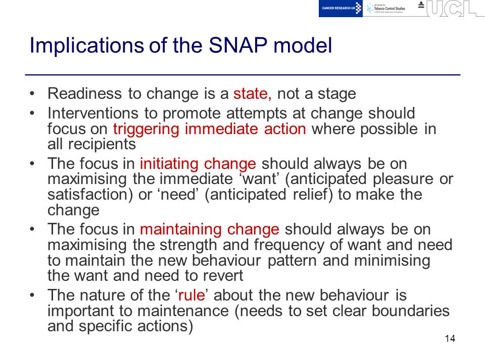 14 Implications of the SNAP model Readiness to change is a state, not a stage Interventions to promote attempts at change should focus on triggering i