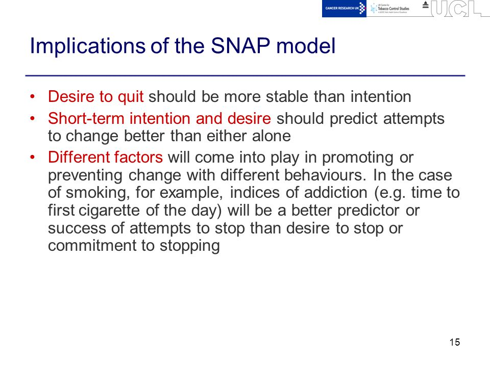 15 Implications of the SNAP model Desire to quit should be more stable than intention Short-term intention and desire should predict attempts to change better than either alone Different factors will come into play in promoting or preventing change with different behaviours.