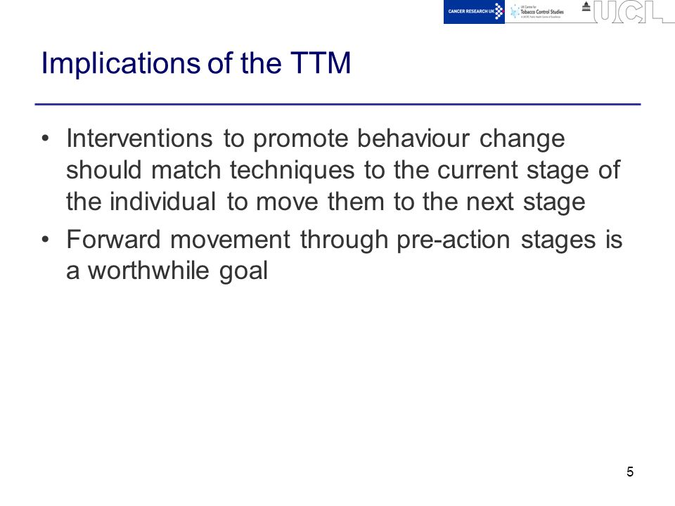 5 Implications of the TTM Interventions to promote behaviour change should match techniques to the current stage of the individual to move them to the