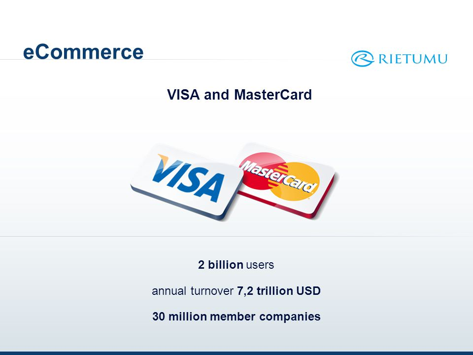 eCommerce VISA and MasterCard 2 billion users annual turnover 7,2 trillion USD 30 million member companies