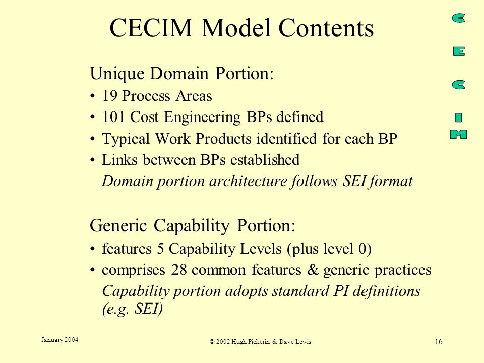 © 2002 Hugh Pickerin & Dave Lewis 16 January 2004 CECIM Model Contents Unique Domain Portion: 19 Process Areas 101 Cost Engineering BPs defined Typical Work Products identified for each BP Links between BPs established Domain portion architecture follows SEI format Generic Capability Portion: features 5 Capability Levels (plus level 0) comprises 28 common features & generic practices Capability portion adopts standard PI definitions (e.g.