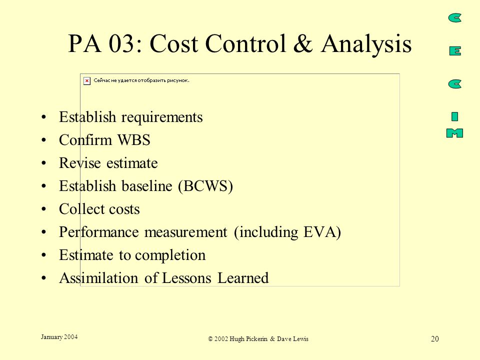 © 2002 Hugh Pickerin & Dave Lewis 20 January 2004 PA 03: Cost Control & Analysis Establish requirements Confirm WBS Revise estimate Establish baseline (BCWS) Collect costs Performance measurement (including EVA) Estimate to completion Assimilation of Lessons Learned