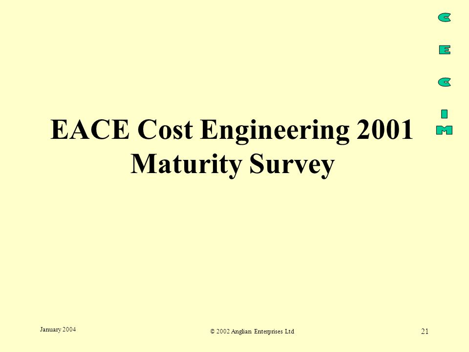 © 2002 Anglian Enterprises Ltd 21 January 2004 EACE Cost Engineering 2001 Maturity Survey