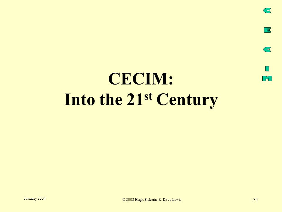 © 2002 Hugh Pickerin & Dave Lewis 35 January 2004 CECIM: Into the 21 st Century