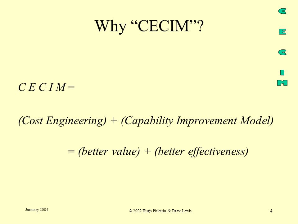 © 2002 Hugh Pickerin & Dave Lewis 4 January 2004 Why CECIM .