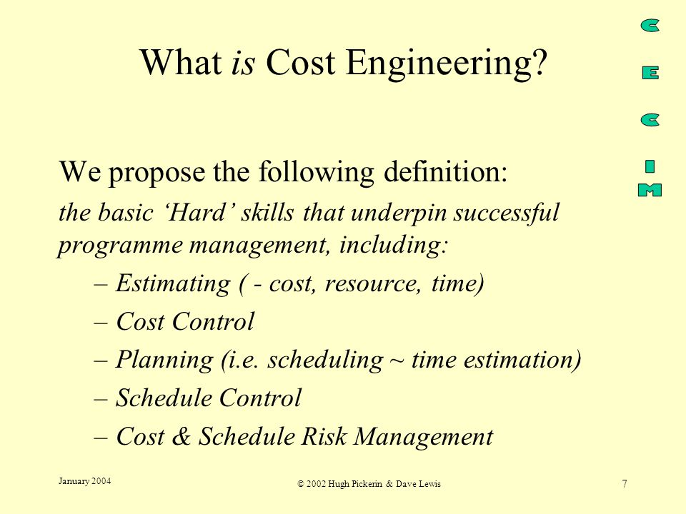 © 2002 Hugh Pickerin & Dave Lewis 7 January 2004 What is Cost Engineering.