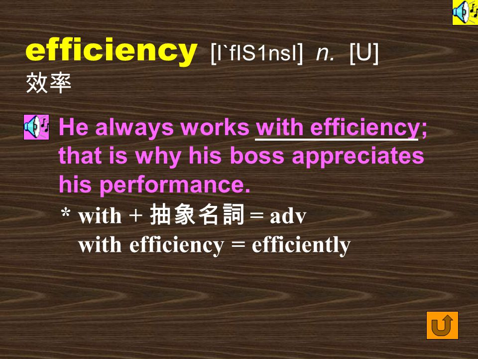 Words for Production 23. efficient [ I`fIS1nt ] adj.