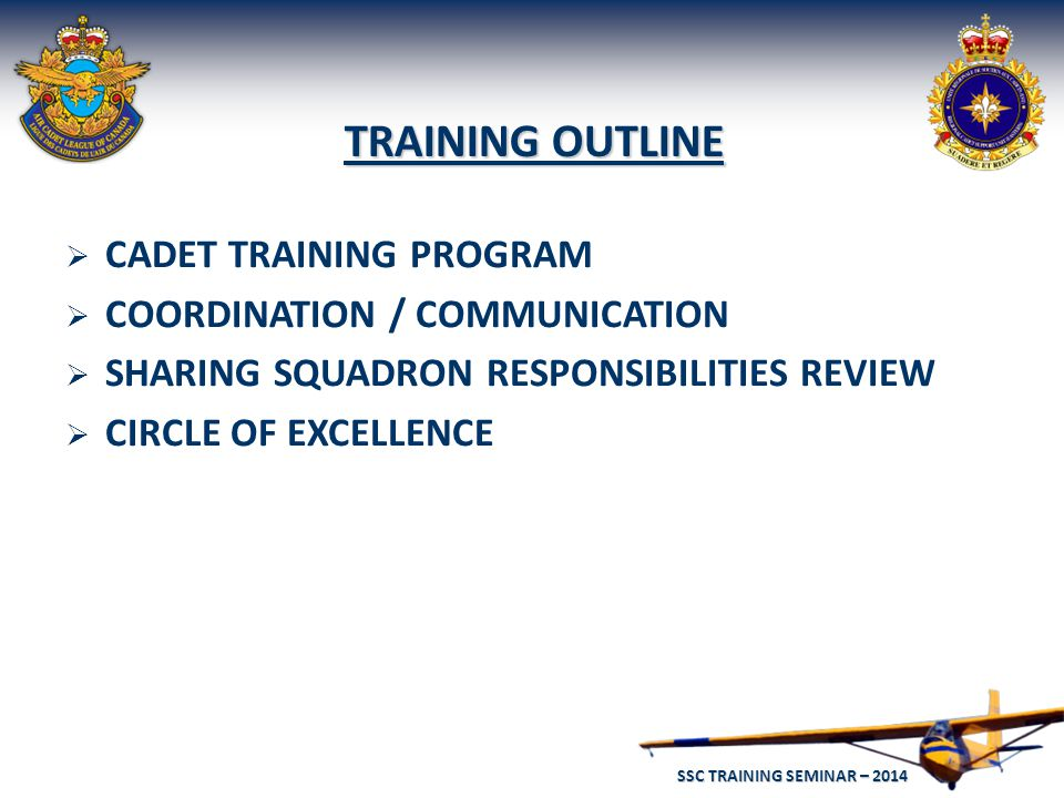 SSC TRAINING SEMINAR – 2014 6  CADET TRAINING PROGRAM  COORDINATION / COMMUNICATION  SHARING SQUADRON RESPONSIBILITIES REVIEW  CIRCLE OF EXCELLENCE TRAINING OUTLINE