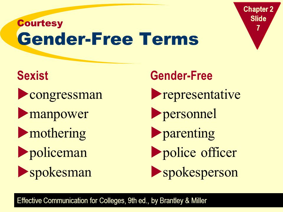 Effective Communication for Colleges, 9th ed., by Brantley & Miller Chapter 2 Slide 7 Courtesy Gender-Free Terms SexistGender-Free  congressman  manpower  mothering  policeman  spokesman  representative  personnel  parenting  police officer  spokesperson