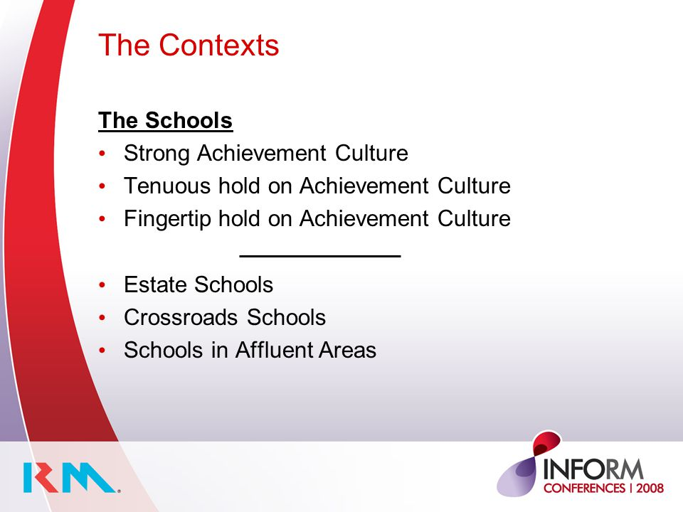 The Contexts The Schools Strong Achievement Culture Tenuous hold on Achievement Culture Fingertip hold on Achievement Culture Estate Schools Crossroads Schools Schools in Affluent Areas