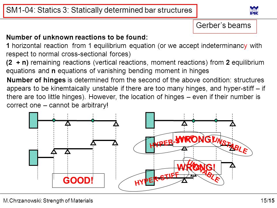 15 /15 M.Chrzanowski: Strength of Materials SM1-04: Statics 3: Statically determined bar structures Number of unknown reactions to be found: 1 horizontal reaction from 1 equilibrium equation (or we accept indeterminancy with respect to normal cross-sectional forces) (2 + n) remaining reactions (vertical reactions, moment reactions) from 2 equilibrium equations and n equations of vanishing bending moment in hinges Number of hinges is determined from the second of the above condition: structures appears to be kinemtaically unstable if there are too many hinges, and hyper-stiff – if there are too little hinges).