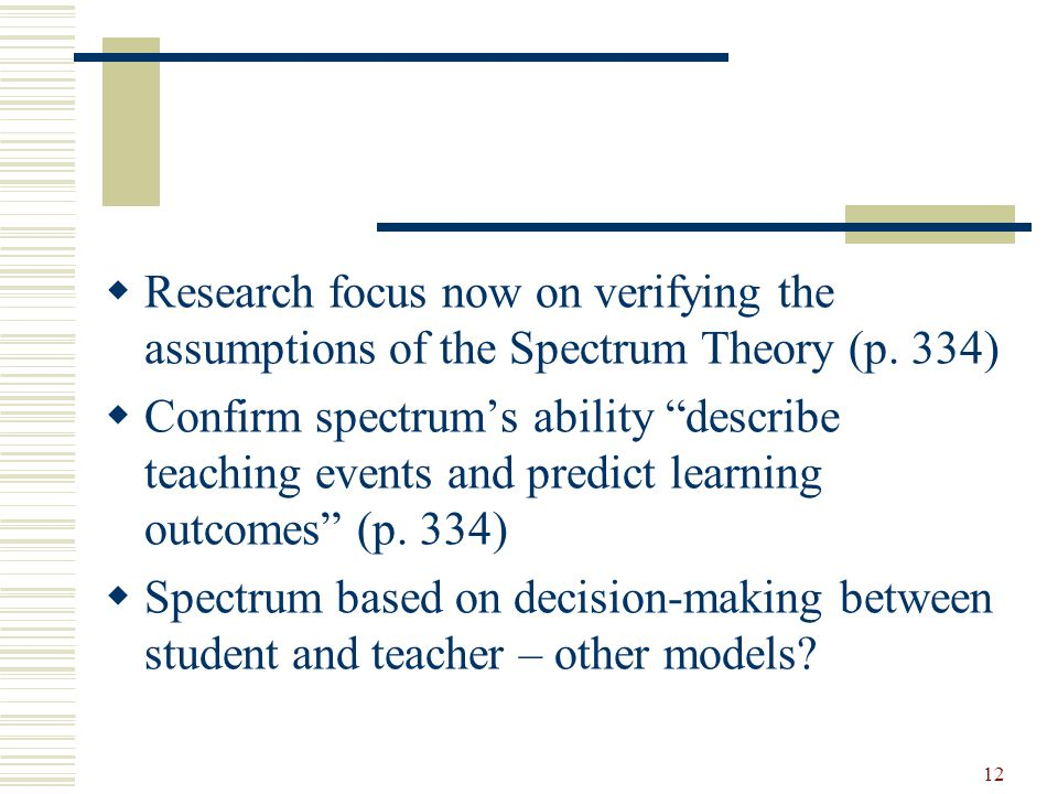 12  Research focus now on verifying the assumptions of the Spectrum Theory (p.