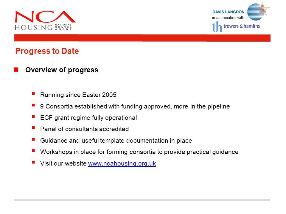 in association with Progress to Date Overview of progress  Running since Easter 2005  9 Consortia established with funding approved, more in the pipeline  ECF grant regime fully operational  Panel of consultants accredited  Guidance and useful template documentation in place  Workshops in place for forming consortia to provide practical guidance  Visit our website www.ncahousing.org.ukwww.ncahousing.org.uk