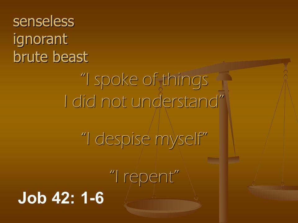 I spoke of things I did not understand I despise myself I repent Job 42: 1-6 senseless ignorant brute beast