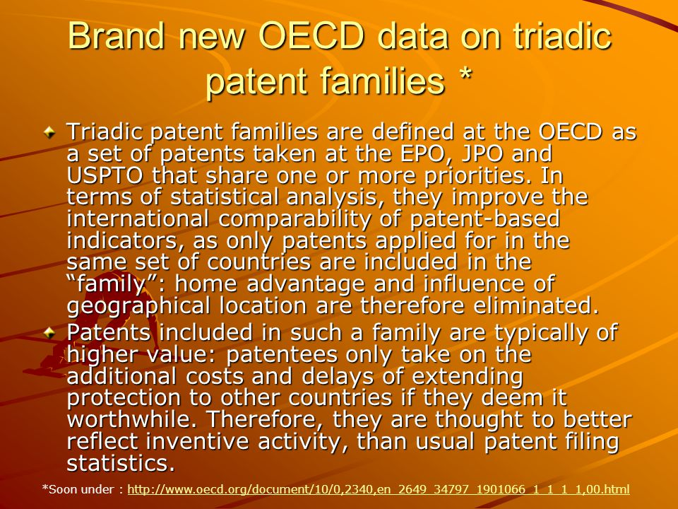 Brand new OECD data on triadic patent families * Triadic patent families are defined at the OECD as a set of patents taken at the EPO, JPO and USPTO that share one or more priorities.