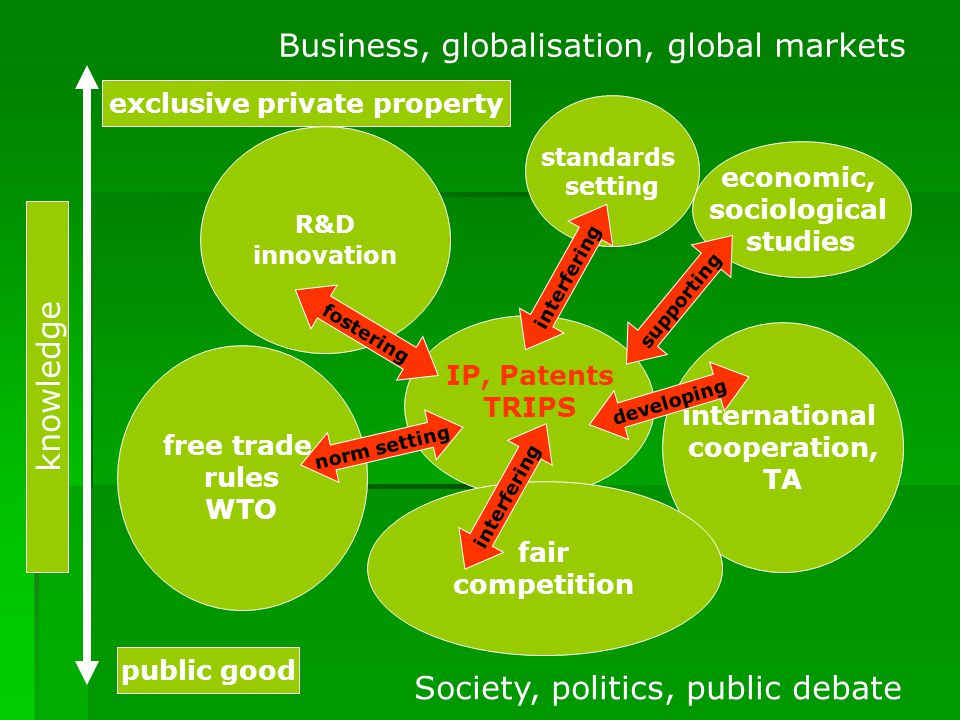 R&D innovation international cooperation, TA free trade rules WTO IP, Patents TRIPS Business, globalisation, global markets Society, politics, public debate fair competition standards setting knowledge exclusive private property public good economic, sociological studies norm setting developing supporting interfering fostering