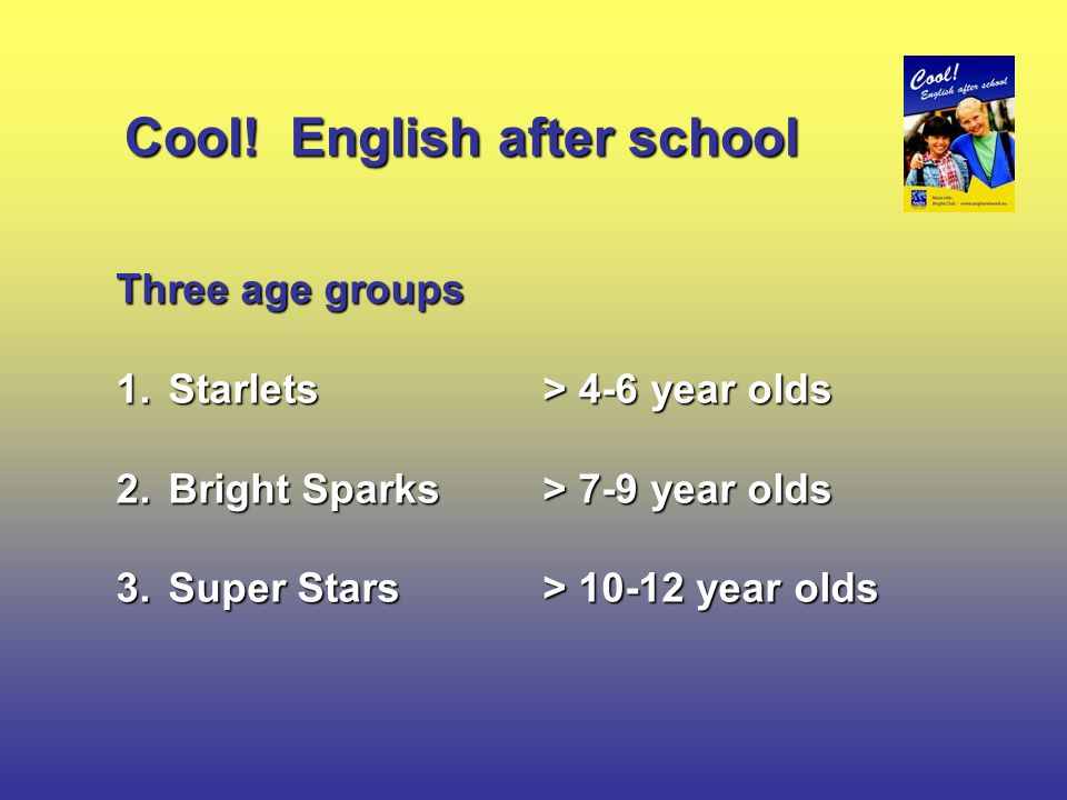 Three age groups 1.Starlets > 4-6 year olds 2.Bright Sparks > 7-9 year olds 3.Super Stars> 10-12 year olds Cool.