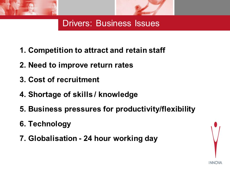 Drivers: Business Issues 1.Competition to attract and retain staff 2.Need to improve return rates 3.Cost of recruitment 4.Shortage of skills / knowledge 5.Business pressures for productivity/flexibility 6.Technology 7.Globalisation - 24 hour working day