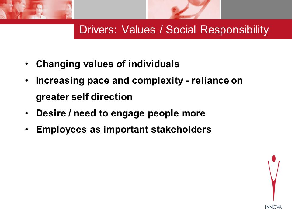 BUSINESS NEED LEDVALUES / SOCIAL RESPONSIBILITY LED COMPLIANCE LEDSTAFF WELFARE LED ORGANISATION NEEDS DRIVE REACTIVE / PROCEDEURAL STRATEGIC/ PROACTIVE INDIVIDUAL NEEDS DRIVE Range of Measures on Work / Life