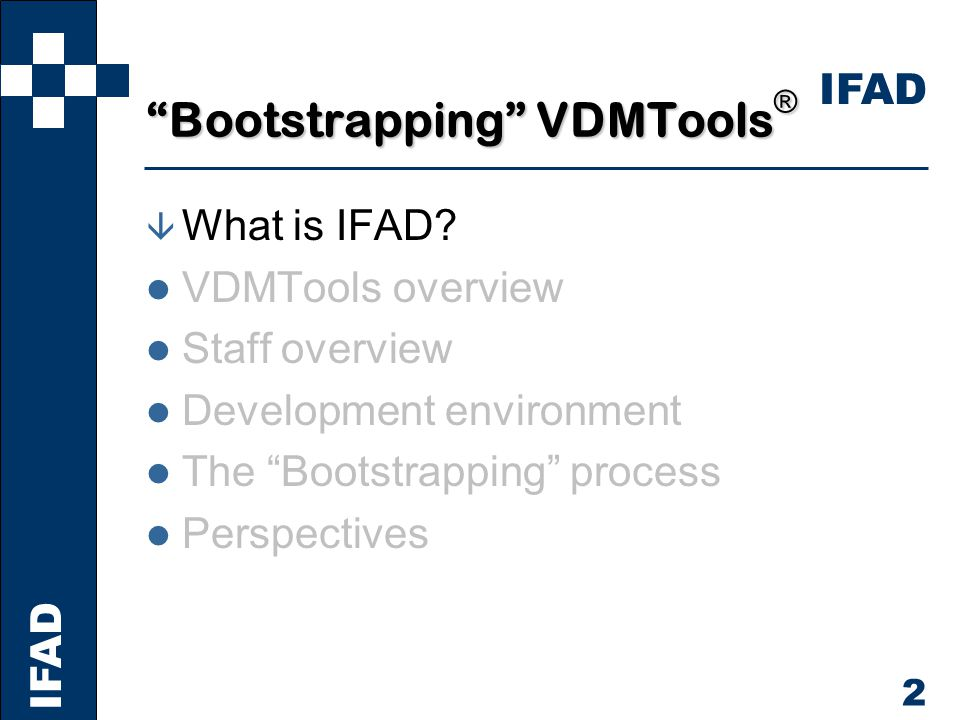 IFAD 3 IFAD Capabilities IFAD provides Professional software development tools that assist engineers in producing high-quality software IFAD ensures Technology transfer by offering training courses, customer-specific consultancy, and by organising seminars IFAD offers Subcontracted software specification and development performed by highly qualified and experienced personnel