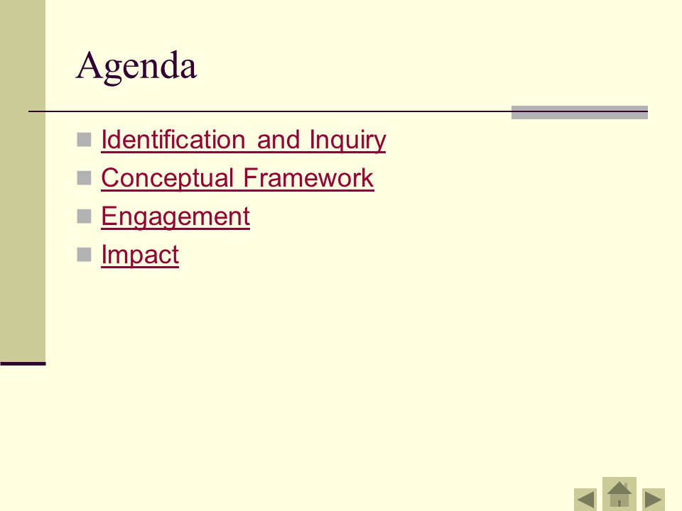 Agenda Identification and Inquiry Conceptual Framework Engagement Impact