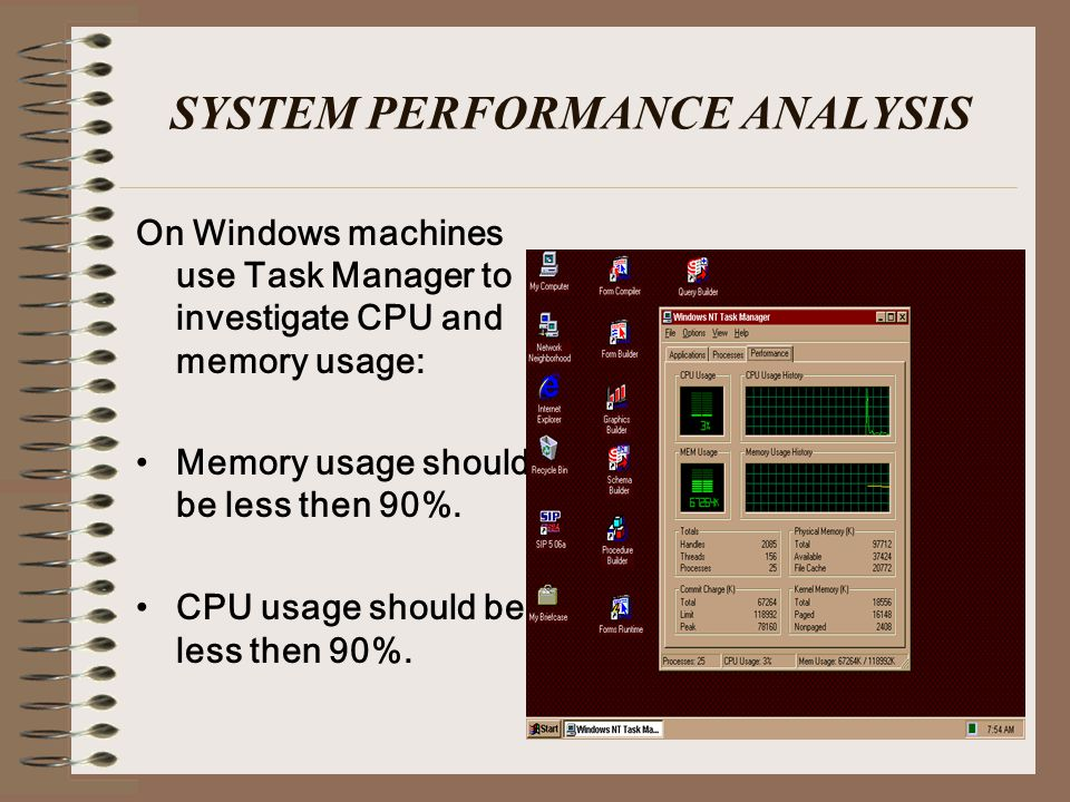 SYSTEM PERFORMANCE ANALYSIS On Windows machines use Task Manager to investigate CPU and memory usage: Memory usage should be less then 90%.