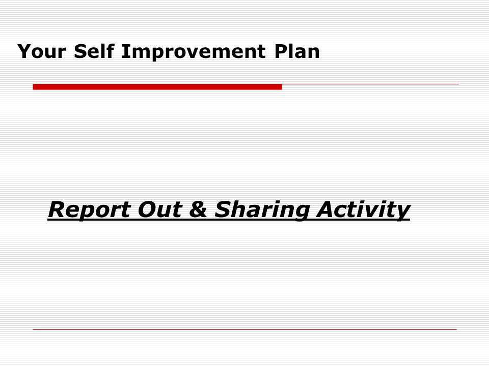 Assignment  Review Topics covered in Module 1( Sessions 1-3)  Start with one topic  Use your Self Improvement Plan and fill in the appropriate information: Training Topics Self Improvement Objective Activity Undertaken Start Date