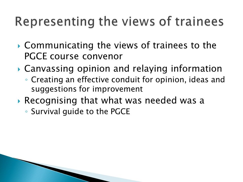  Communicating the views of trainees to the PGCE course convenor  Canvassing opinion and relaying information ◦ Creating an effective conduit for opinion, ideas and suggestions for improvement  Recognising that what was needed was a ◦ Survival guide to the PGCE