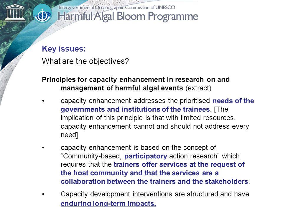 Key issues: