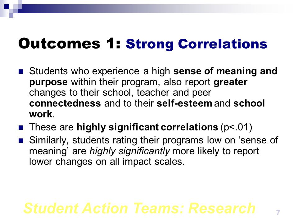 Student Action Teams: Research 7 Outcomes 1: Strong Correlations Students who experience a high sense of meaning and purpose within their program, also report greater changes to their school, teacher and peer connectedness and to their self-esteem and school work.