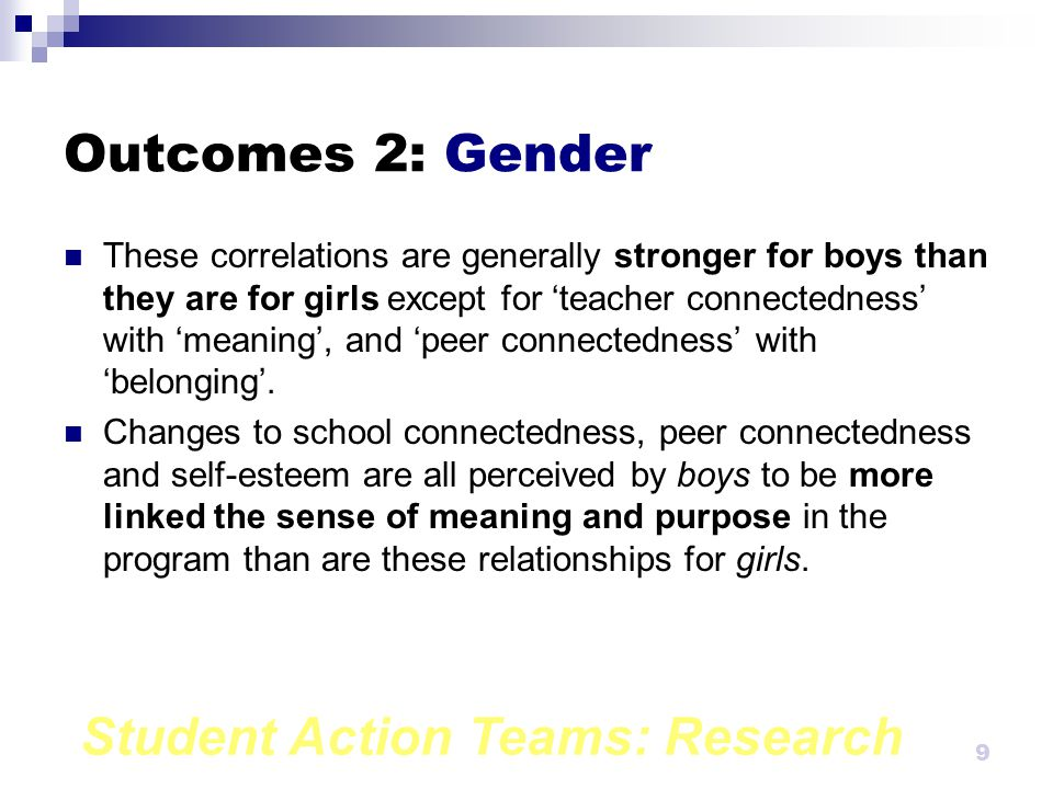 Student Action Teams: Research 8 Outcomes 1: Correlations (cont.) 'Sense of belonging' also correlates highly with all impact scales and these correlations are also highly significant.