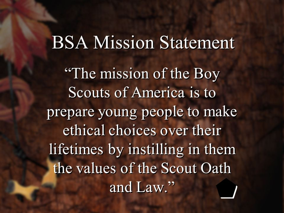 BSA Mission Statement The mission of the Boy Scouts of America is to prepare young people to make ethical choices over their lifetimes by instilling in them the values of the Scout Oath and Law.