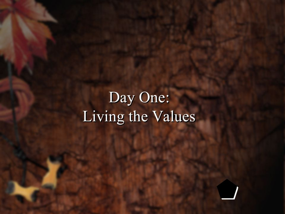 Day One: Living the Values