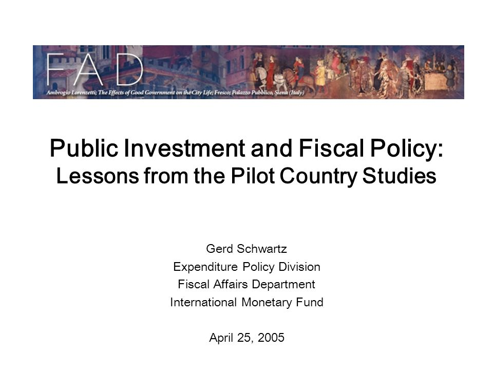 Public Investment and Fiscal Policy: Lessons from the Pilot Country Studies Gerd Schwartz Expenditure Policy Division Fiscal Affairs Department International Monetary Fund April 25, 2005