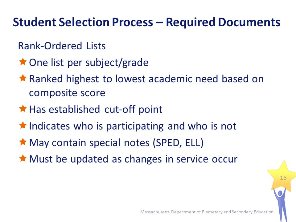 Student Selection Process – Required Documents Rank-Ordered Lists  One list per subject/grade  Ranked highest to lowest academic need based on composite score  Has established cut-off point  Indicates who is participating and who is not  May contain special notes (SPED, ELL)  Must be updated as changes in service occur 16 Massachusetts Department of Elemetary and Secondary Education