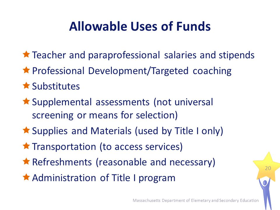 Allowable Uses of Funds  Teacher and paraprofessional salaries and stipends  Professional Development/Targeted coaching  Substitutes  Supplemental assessments (not universal screening or means for selection)  Supplies and Materials (used by Title I only)  Transportation (to access services)  Refreshments (reasonable and necessary)  Administration of Title I program 20 Massachusetts Department of Elemetary and Secondary Education