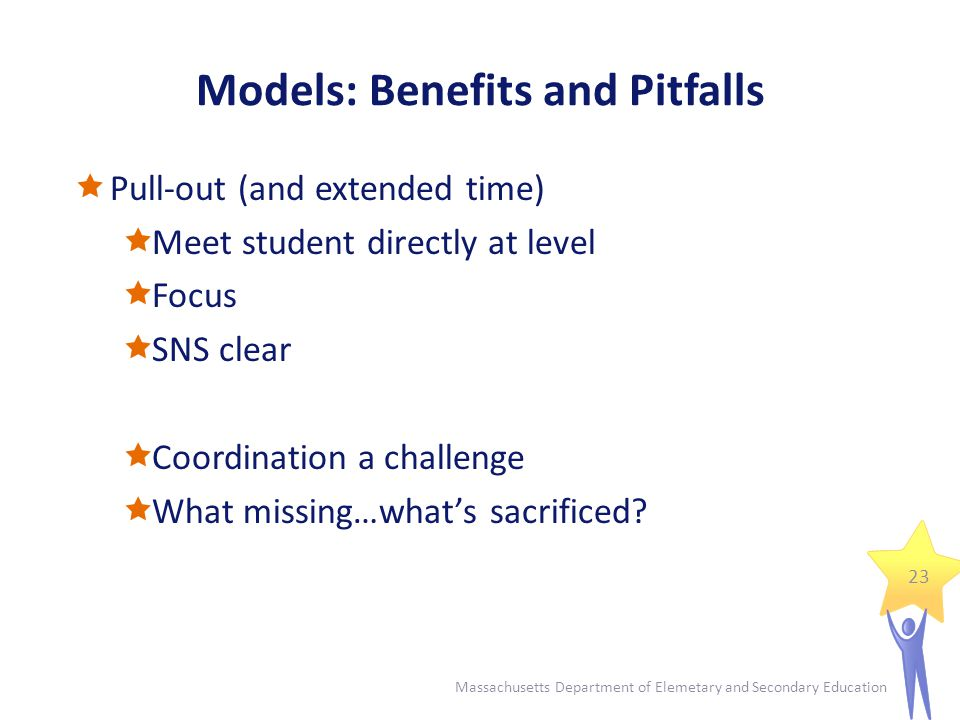 Models: Benefits and Pitfalls  Pull-out (and extended time)  Meet student directly at level  Focus  SNS clear  Coordination a challenge  What missing…what's sacrificed.