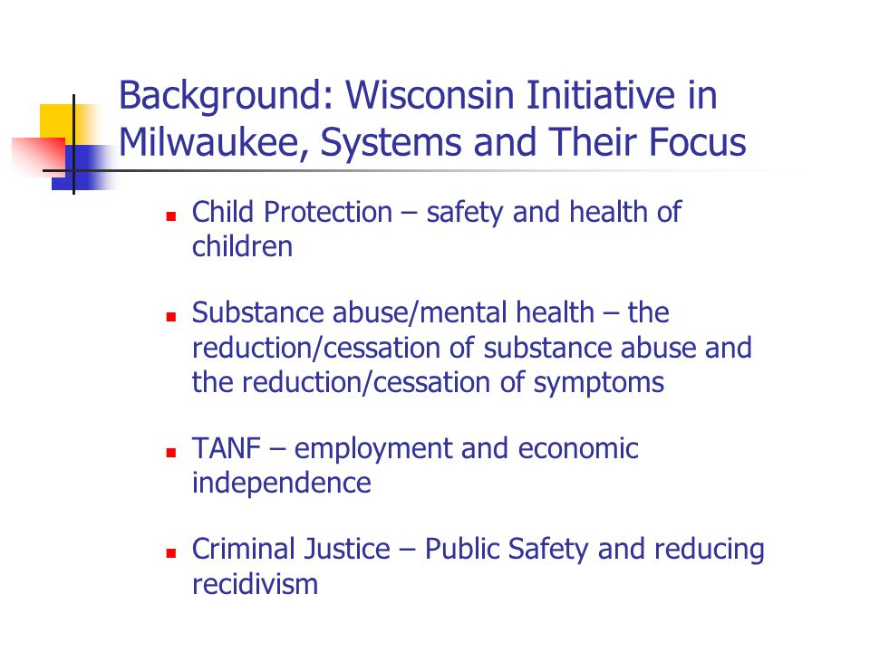 Wisconsin Initiative in Milwaukee: Systems Differ in Many Ways Goals Expectations and requirements for success Definition of success based on its own requirements Funding sources and accountability requirements