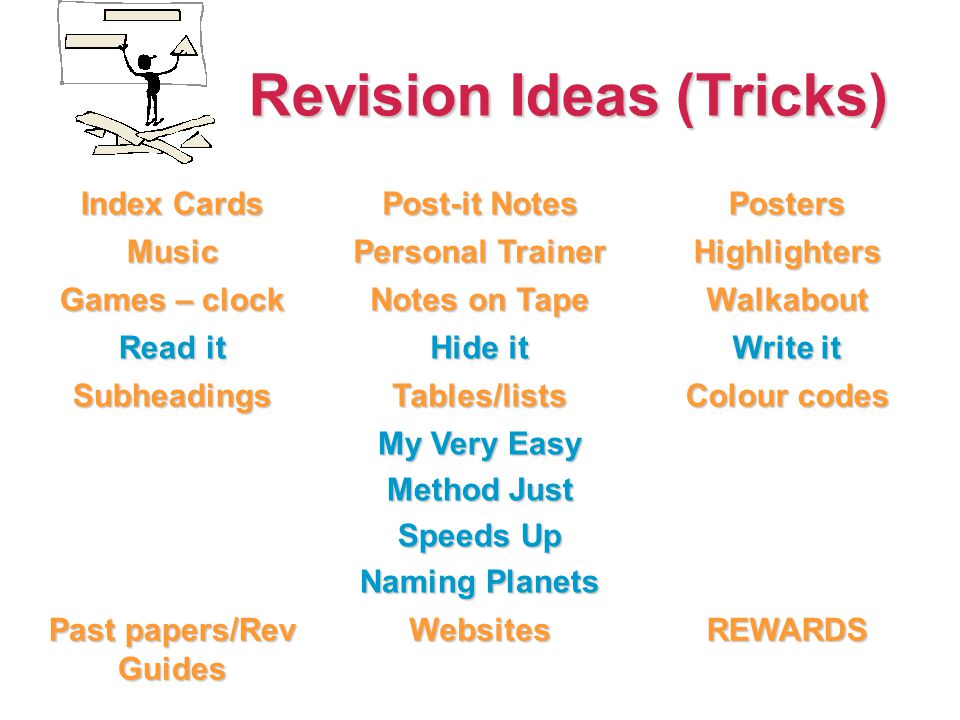 Revision Ideas (Tricks) Revision Ideas (Tricks) Index Cards Post-it Notes Posters Music Personal Trainer Highlighters Games – clock Notes on Tape Walkabout Read it Hide it Write it SubheadingsTables/lists Colour codes My Very Easy Method Just Speeds Up Naming Planets Past papers/Rev Guides WebsitesREWARDS