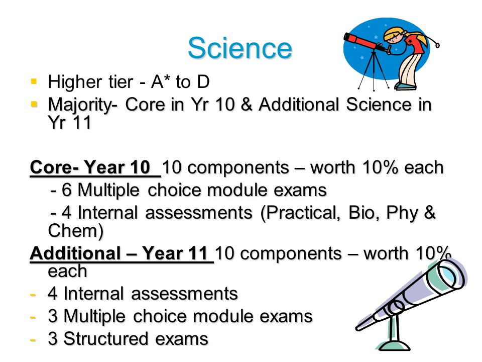 Science   Higher tier - A* to D  Majority- Core in Yr 10 & Additional Science in Yr 11 Core- Year 10 10 components – worth 10% each - 6 Multiple choice module exams - 6 Multiple choice module exams - 4 Internal assessments (Practical, Bio, Phy & Chem) - 4 Internal assessments (Practical, Bio, Phy & Chem) Additional – Year 11 10 components – worth 10% each -4 Internal assessments -3 Multiple choice module exams -3 Structured exams