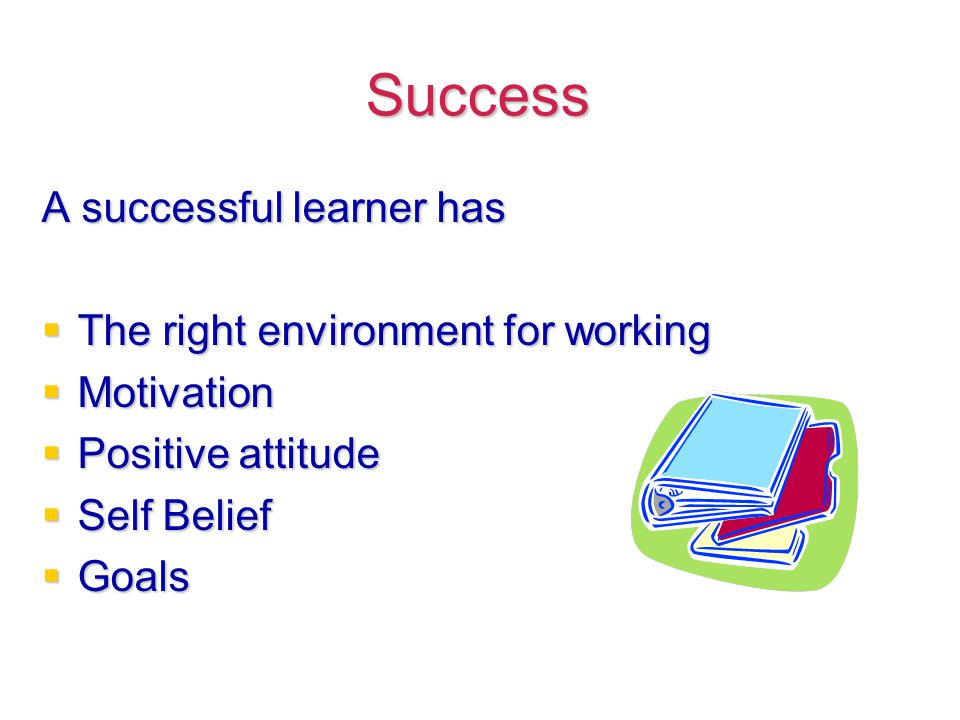 Success A successful learner has  The right environment for working  Motivation  Positive attitude  Self Belief  Goals
