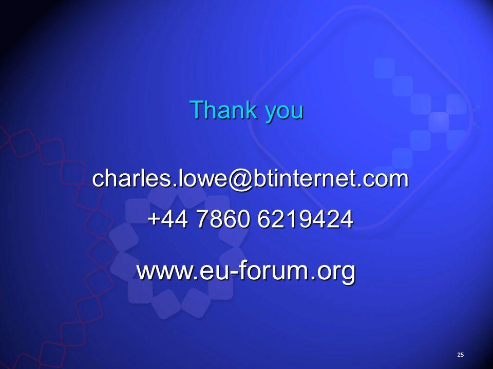25 charles.lowe@btinternet.com +44 7860 6219424 Thank you www.eu-forum.org