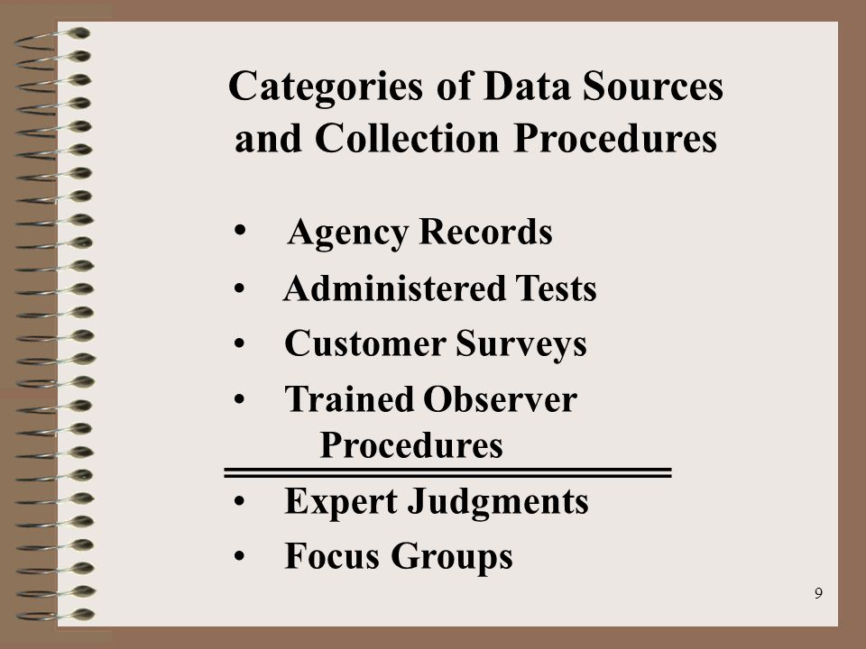 9 Categories of Data Sources and Collection Procedures Agency Records Administered Tests Customer Surveys Trained Observer Procedures Expert Judgments