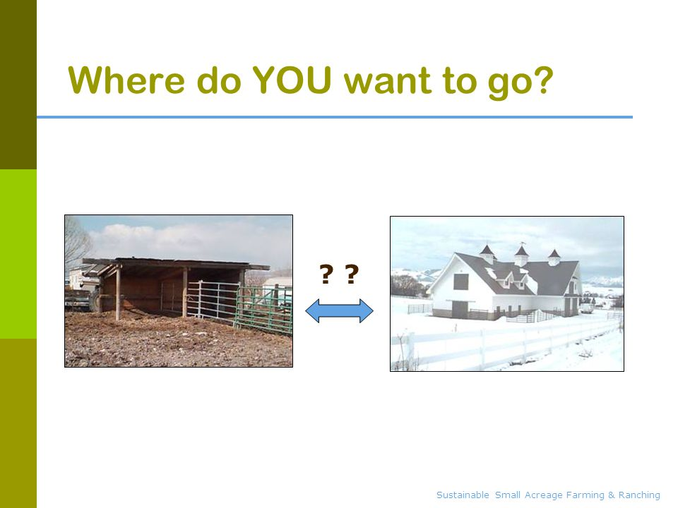 Sustainable Small Acreage Farming & Ranching Where do YOU want to go