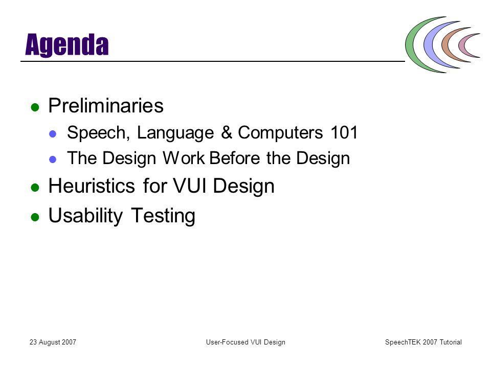 User-Focused VUI Design Susan L. Hura, PhD Principal, SpeechUsability SpeechTEK 2007