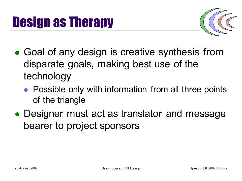 SpeechTEK 2007 Tutorial 23 August 2007User-Focused VUI Design The Role of VUI in Speech Projects A three-way intersection VUI Business Goals User Goal